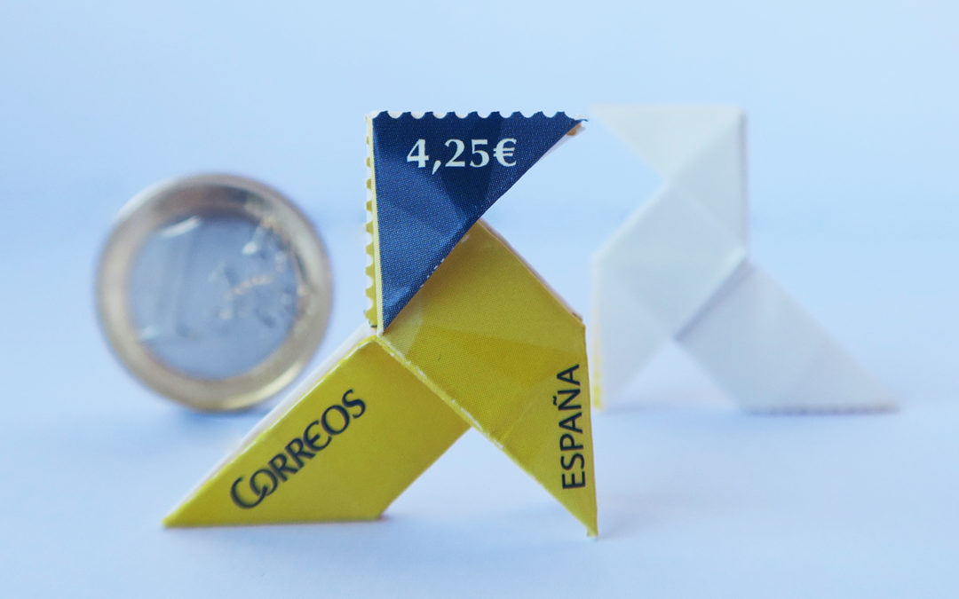Correos origami stamp